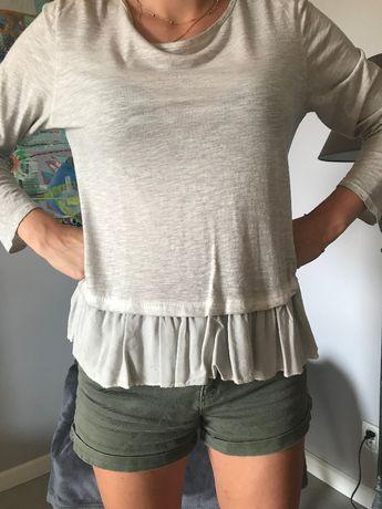 Modne bluzeczki z falbanką kolor szary i biały rozmiar M/L