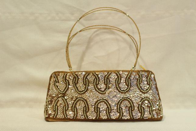Mala Senhora lantejoulas prateadas e douradas pega missangas Vintage
