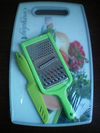 Набор посуды Maestro (Маэстро) Доска разделочная+Тёрка+ Нож
