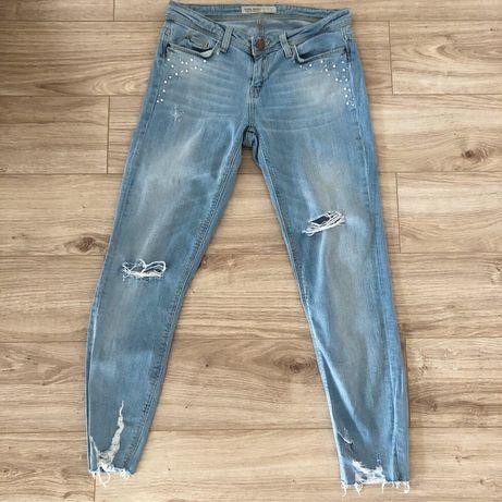 Jasne jeansy z perłami zara przetarcia 34 Siwiec basic Z1975 spodnie