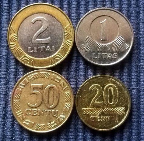 2 лита, 1 лит, 50 и 20 центов, Литва