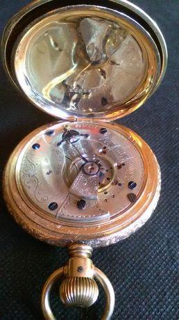 Złoty zegarek kieszonkowy The Rail Roadez USA i dewizka.Super stan.