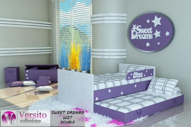 Łóżko wysuwane,łóżko dla dziecka piętrowe kolor fioletowy,gwiazdki