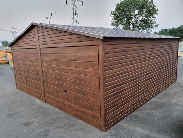 Garaż Blaszany Blaszak Wzmocniony Garaże 6x6 Grafit Złoty Dąb Orzech