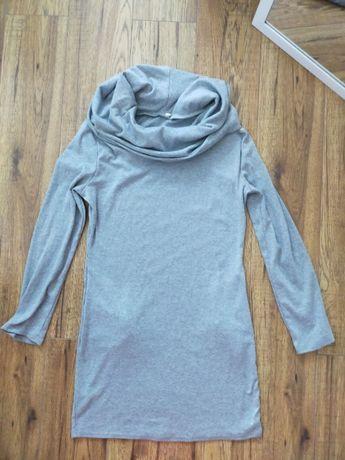 OKAZJA M 38 szara sukienka dresowa z kieszeniami i funkcjonalnym