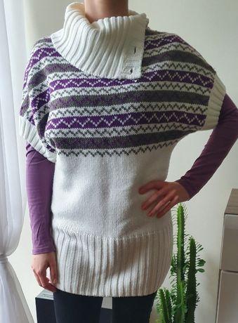 Ciepły sweter kremowo fioletowy