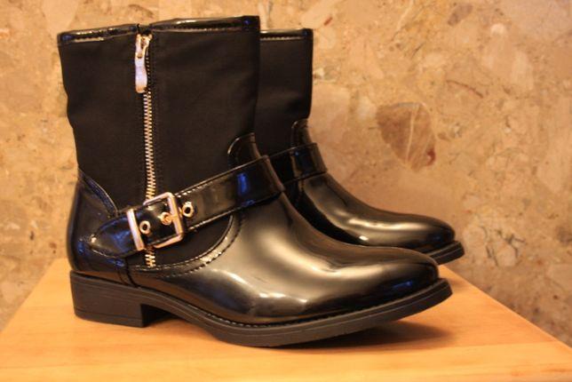 Buty botki damskie wygodne ocieplane zimowe czarne rozmiar 38