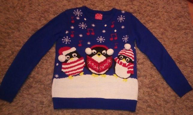 """Sweter sweterek zimowy motyw """"3 pingwiny"""" rozmiar EUR 38"""