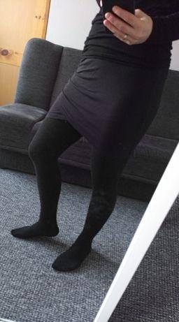 Spódnica h&m hm mini na zakładkę marszczona z dzianiny mała czarna