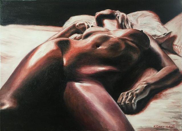 "Картина масло/холст/ручная работа ""Натали"",художник Обертас Ю.А"