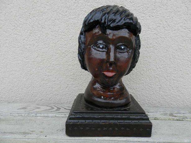 Rzeźba drewniana figura czarna głowa kobiety na prezent