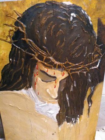 Chrystus cierpiący obraz na desce