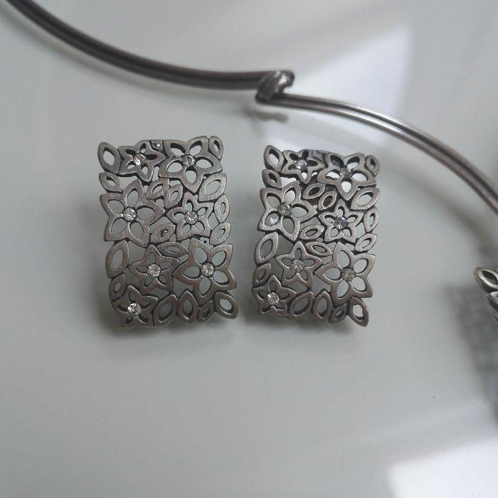 Srebrne kolczyki z cyrkoniami Łańcut - image 1