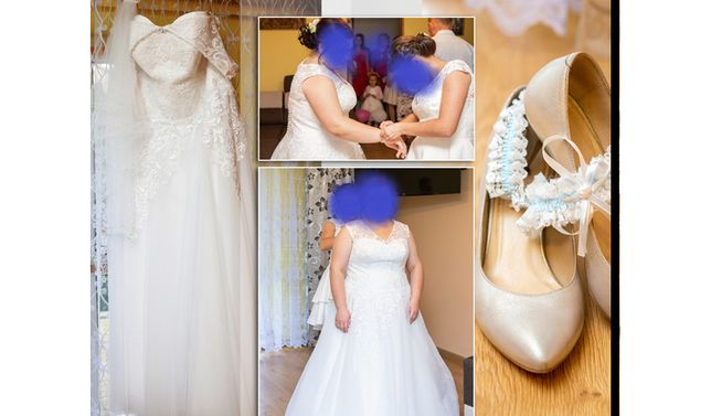 sprzedam pilnie suknie ślubną i welon+skrzynka na koperty