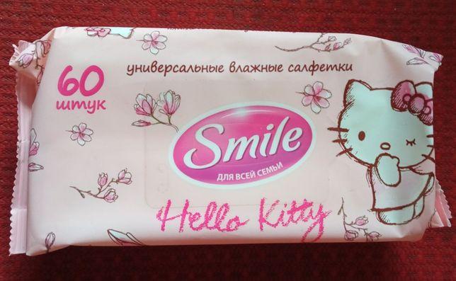 """Универсальные влажные салфетки Smail """"Hello Kitty"""" 60 штук в пачке."""