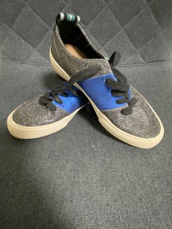Кеди Zara синьо-чорні в блискітку/Кеды Zara в блестки сине-чорные