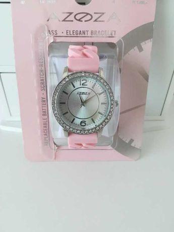 Zegarek srebrny różowy pudrowy pastelowy bransoleta gumowa łańcuch