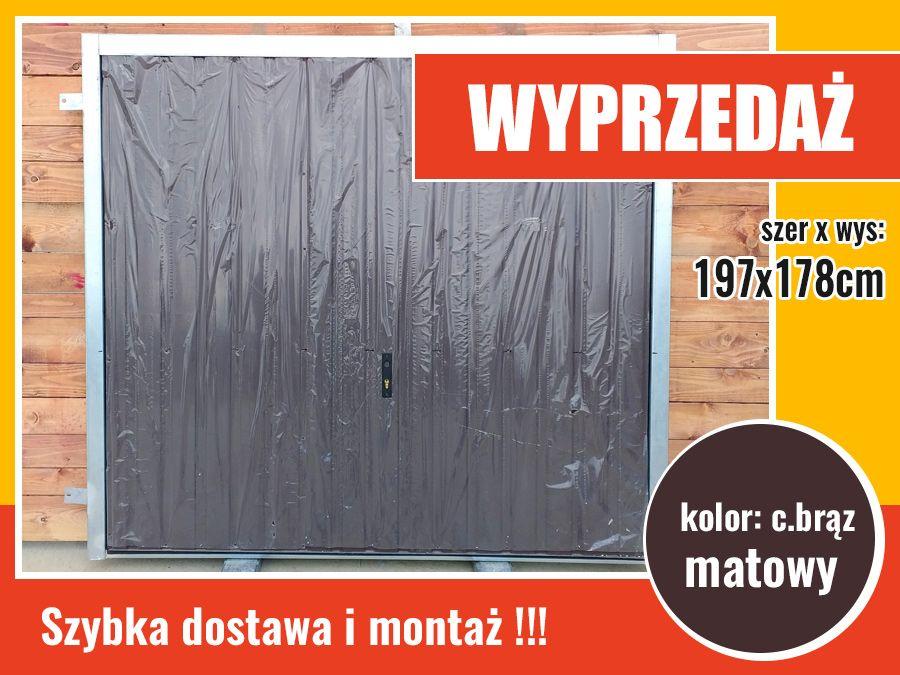 WYPRZEDAŻ - brama garażowa uchylna do muru nieocieplana, kolor c.brąz