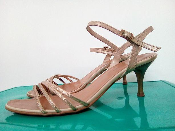 Sandały damskie Canhpol, buty na obcasie, eleganckie, złote, beżowe