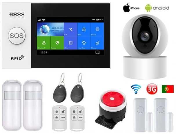Alarme Casa sem fios GSM/WiFi/Câmera Android/iOS/SOS Português (NOVO)