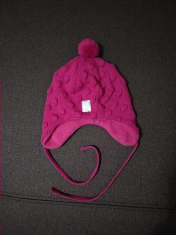 Теплая зимняя вязаная шапка на флисе Reima оригинал 46 см 6-12 мес