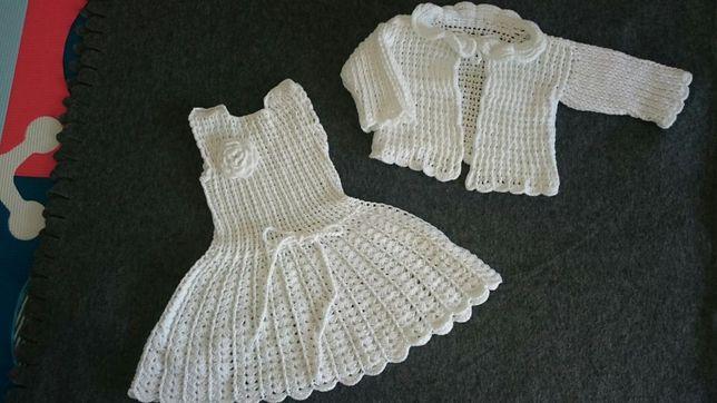 Sukienka do Chrztu Św ręcznie robiona + sweterek + akcesoria