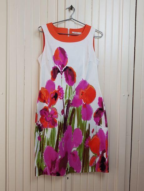 Sukienka ecru kolorowe kwiaty Monnari 38 M