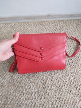Красная кожаная женская сумка, сумочка кроссбоди из натуральной кожи