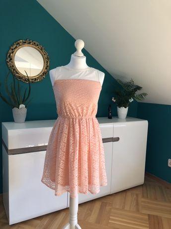 Sukienka letnia koronkowa różowa