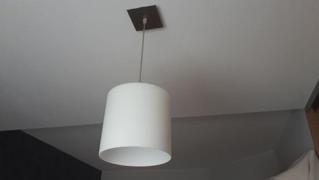 Lampa wisząca, klosz szklany biały walec
