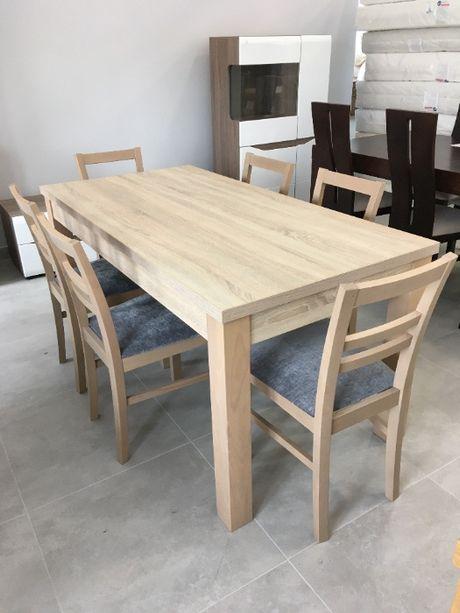 Komplet stołowy: stół i 6 krzeseł, 160x80, dąb sonoma