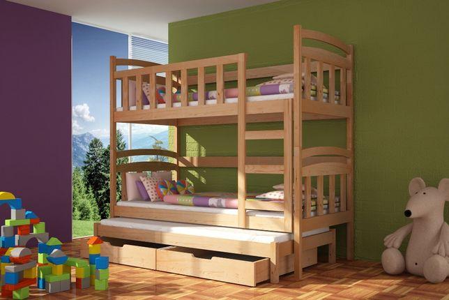 Drewniane łóżko DAMIAN 3-osobowe z szufladami + materace