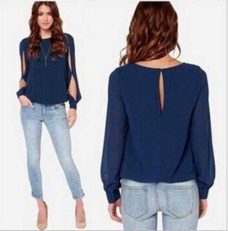 Blusa Azul Tipo Camisa - Com abertura nos braços - Tamanho L