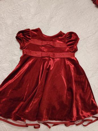 Śliczna aksamitna sukienka 18mscy 86-92cm Ashley Ann