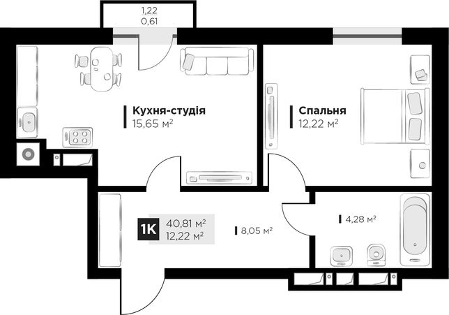 Продаж 1 кім квартири ARTHOUSE park вул Малоголосківська 40,81м2