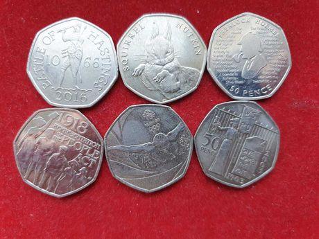 Монети 50 пенсів Великобританія Ювілейні 6 штук