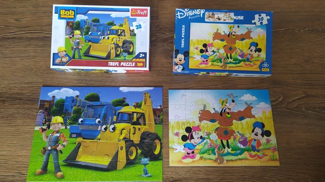 Puzzle trefl Bob Budowniczy myszka Miki 30 elementów zestaw