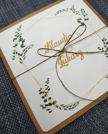 Zaproszenia ślubne kwadratowe rustykalne na ślub wesele ekologiczne