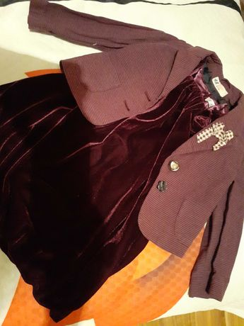 Elegancki zestaw aksamitna sukienka F&F i żakiecik H&M w rozmiarze 98