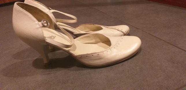 buty skórzane damskie Ryłko rozmiar 37.5 ecru