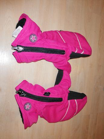 Rękawiczki narciarskie nieprzemakalne ortalionowe różowe suwak 20cm