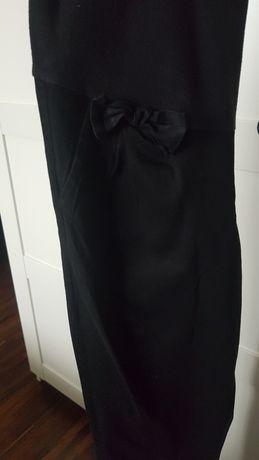 Czarne materiałowe spodnie ciążowe z kokardką L