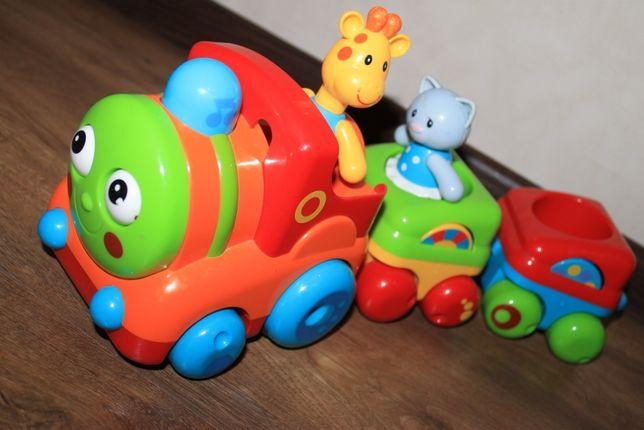 Игрушка паровозик Toy box ELC 137044 поезд кошка жираф с музыкой