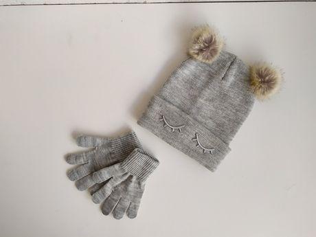 Шапка шапочка рукавиці для дівчинки