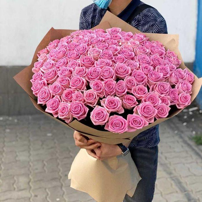 111 розовых Роз. Доставка цветов, шикарные букеты, подарок девушке Днепр - изображение 1