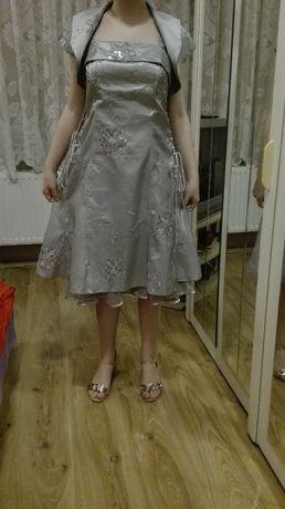 Sukienka szaro-srebna okazjonalna