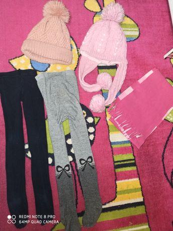 Набор лот комплект шапка шарф колготы 4-5лет