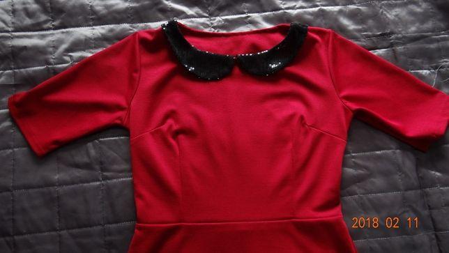 Bluzka czerwona kołnierzyk cekiny rozm M/L