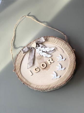 Tabliczka inienna z drewna