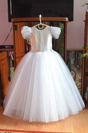 Платье нарядное бальное на утреник снежинка